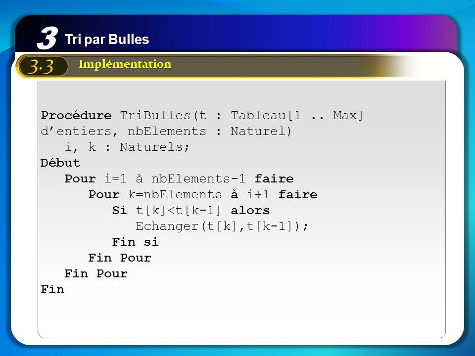 3 Tri par Bulles. 3.3. Implémentation. Procédure TriBulles(t : Tableau[1 .. Max] d'entiers, nbElements : Naturel)